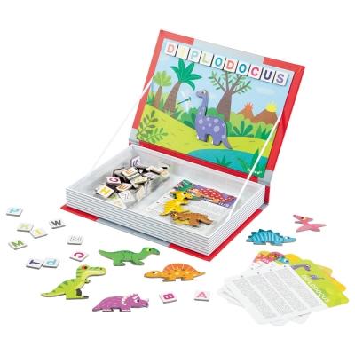 法國Janod 磁鐵遊戲書-恐龍拼字