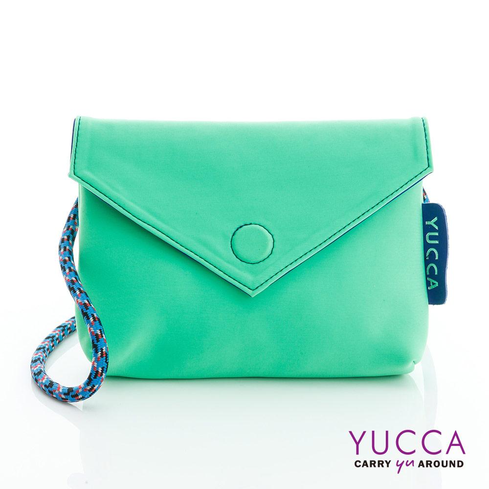 YUCCA - 防潑水尼龍磁扣側背包-螢光綠色 D012243