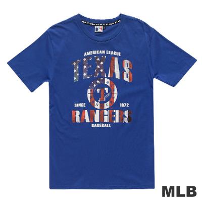 MLB-德州遊騎兵隊國旗底紋印花短袖T恤-藍(男)