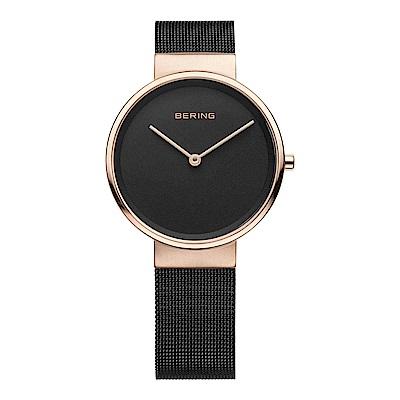 BERING丹麥精品手錶 簡單無刻度米蘭帶系列 玫瑰金x黑31mm