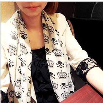 【Aimee Toff】皇冠骷髏時尚巴黎紗圍巾(白)