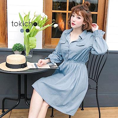 東京著衣 清新鏤空袖鬆緊腰單寧洋裝-S.M(共二色)