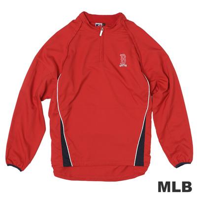 MLB-波士頓紅襪隊可拆袖防風長袖T恤-紅(男)