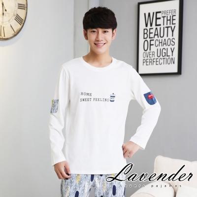 睡衣 賣萌小熊居家情侶款睡衣(男)Lavender