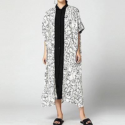 趣味塗鴉寬鬆雪紡襯衫洋裝-(共二色)Andstyle