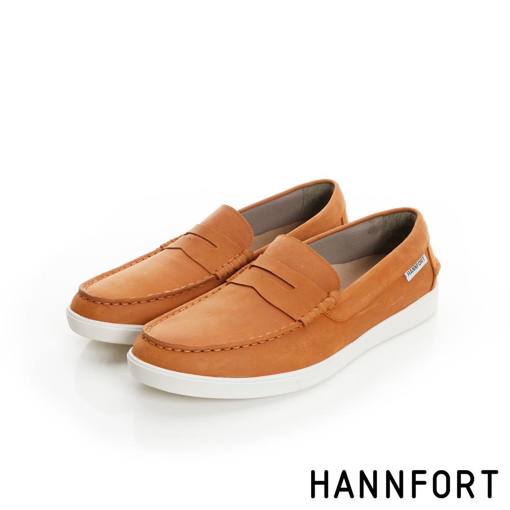 HANNFORT CARIBBEAN防潑水真皮氣墊樂福鞋-男-小麥黃