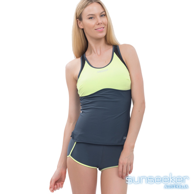 澳洲Sunseeker泳裝造型運動款兩件式泳衣-灰