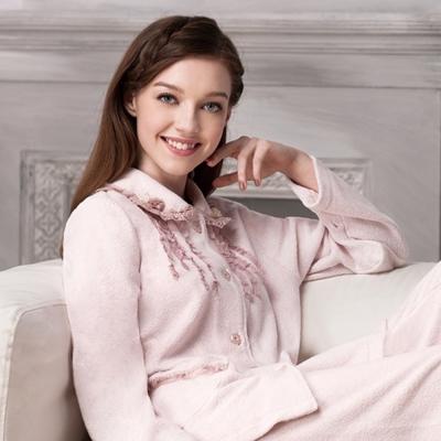 羅絲美睡衣 - 貴族氣息蕾絲厚褲裝睡衣 (貴族粉)