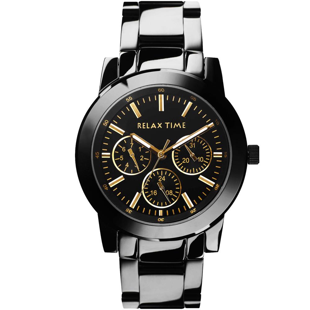 RELAX TIME 經典三眼錶款-黑金/38mm