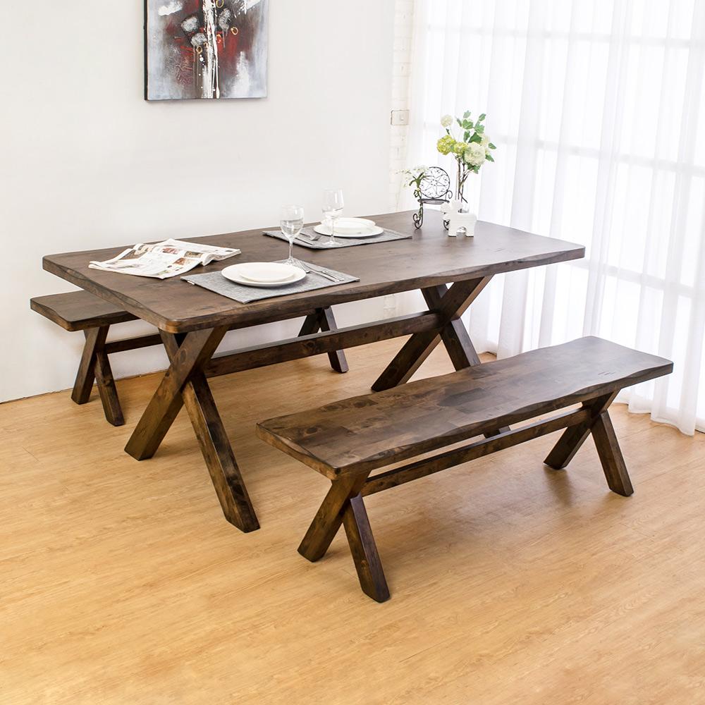 Bernice-奧斯曼仿舊風格6尺實木餐桌+長凳組合(一桌二椅)180x90x76cm