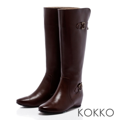 KOKKO-玩酷風潮-內增高2WAY反折長靴-深咖