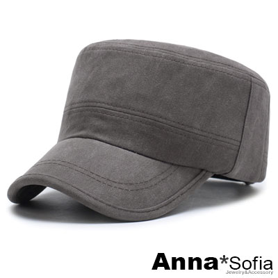 AnnaSofia 小口袋水洗暈染紋 純棉棒球帽軍帽(褐咖系)
