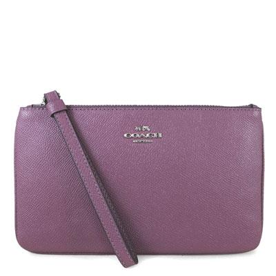 COACH 立體馬車Logo鵝卵石紋全皮革提掛式大手拿包(錦葵紫色-大)