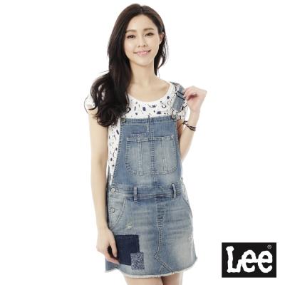 Lee 牛仔褲 牛仔拼布吊帶裙 女 中古藍