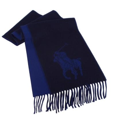 RALPH LAUREN POLO 經典大馬LOGO雙色羊毛圍巾-深藍色