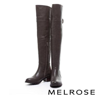 長靴 MELROSE 彈性萊卡布拼接素面美型粗跟跟過膝長靴-咖