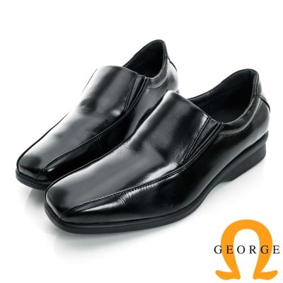 GEORGE-側V切口素面柔軟厚底真皮紳士方頭鞋-黑色