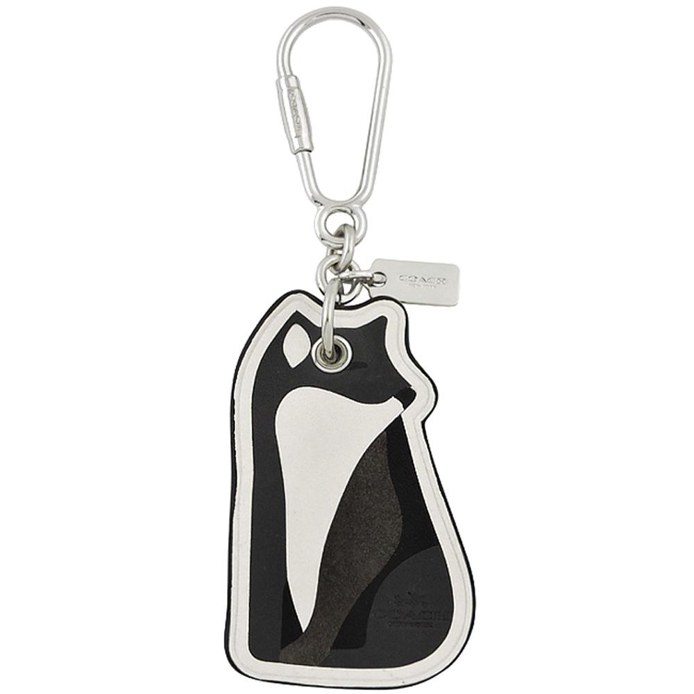 COACH 銀灰色狐狸造型皮革鑰匙圈COACH