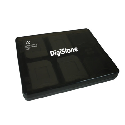 DigiStone 嚴選特A級 多功能記憶卡收納盒(12片裝) 冰凍黑透色 1個