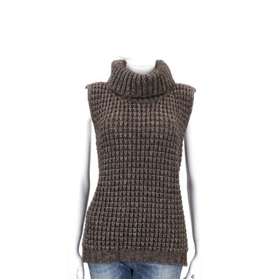 Max Mara-WEEKEND 深咖啡色粗針織高領無袖上衣