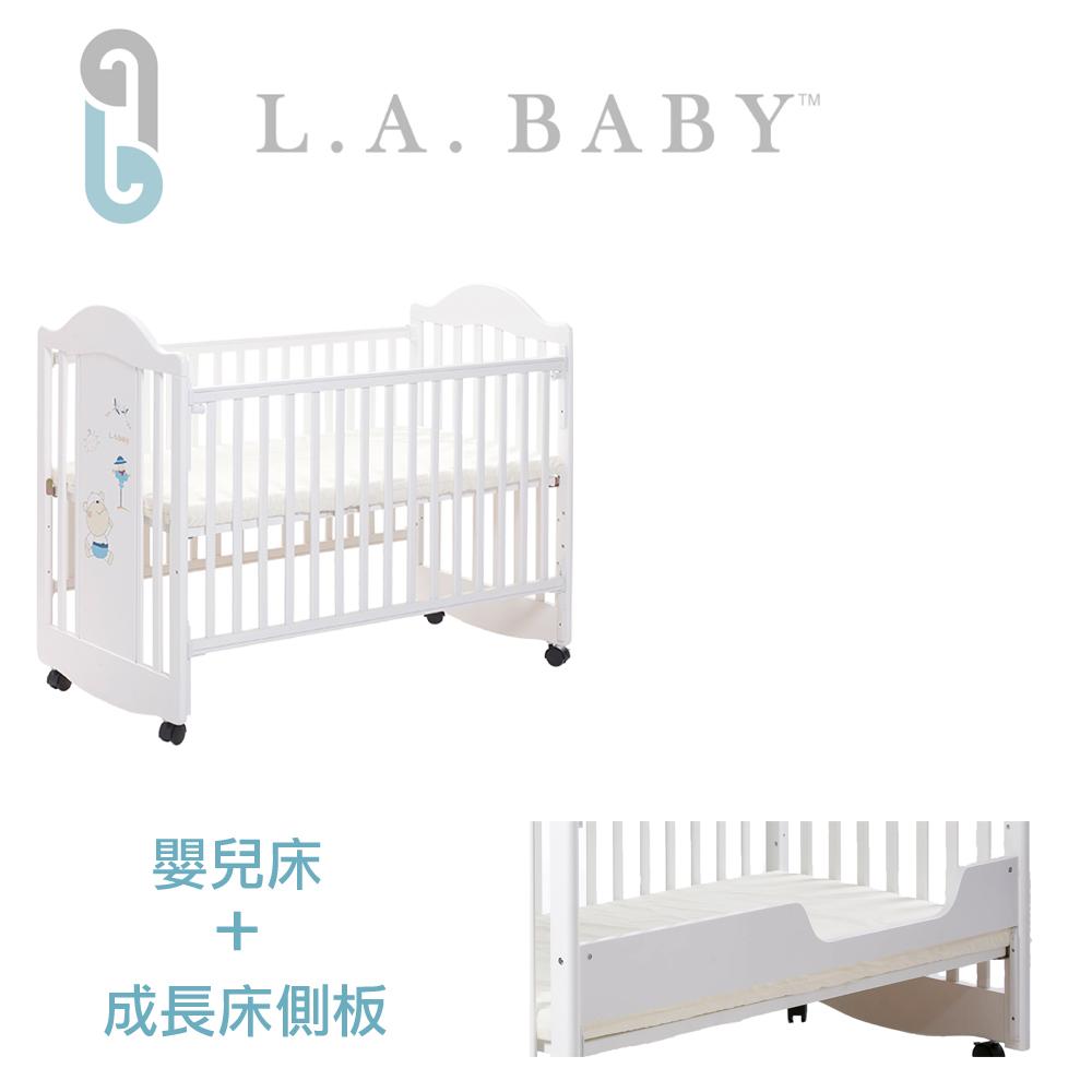 美國 L.A. Baby達拉斯兩階段成長嬰兒床(深咖啡色/白色)