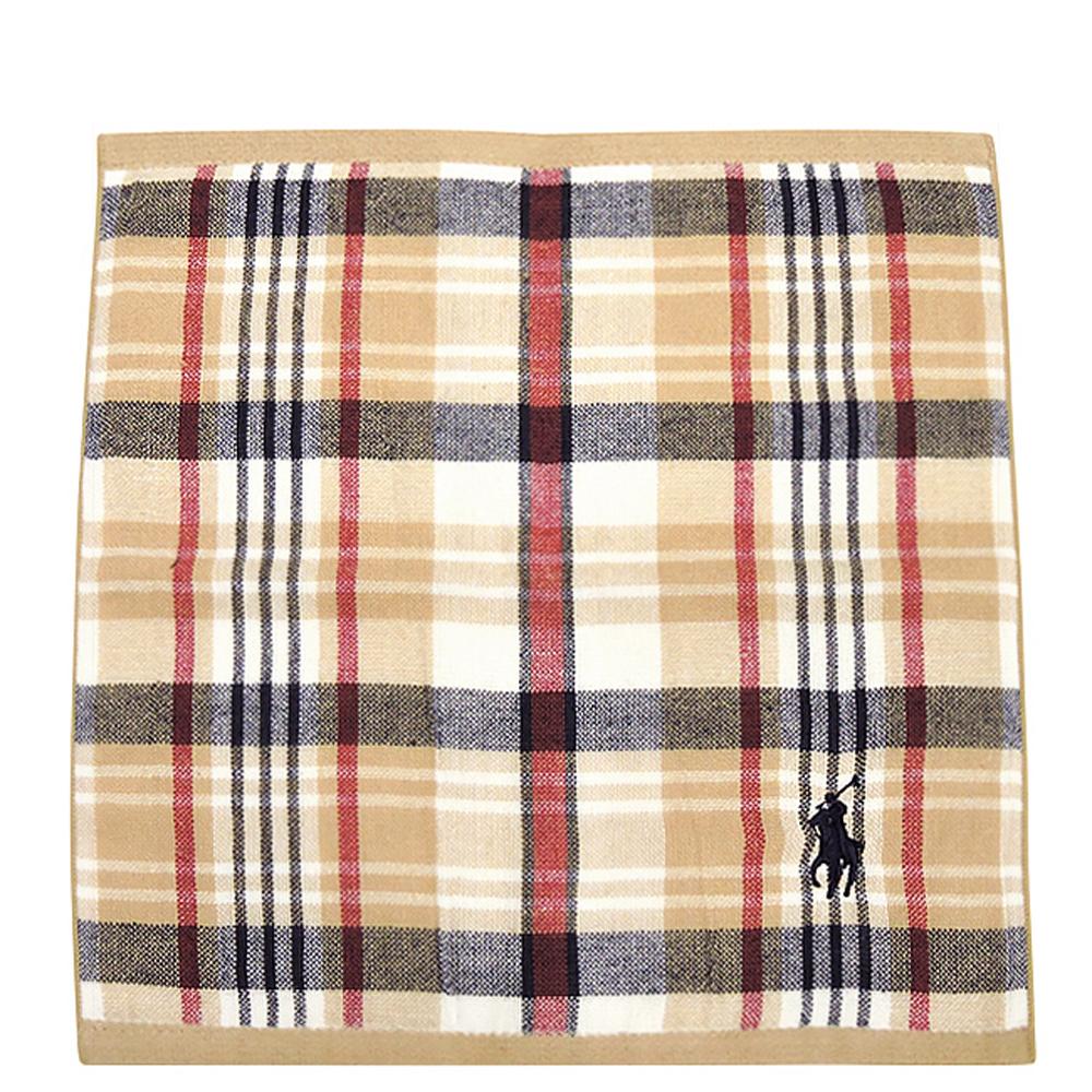 RALPH LAUREN 卡其色格紋純棉雙面帕巾