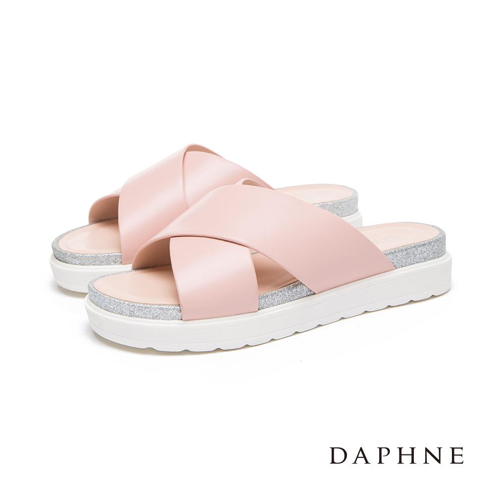 達芙妮DAPHNE 涼鞋-交叉寬帶銀蔥邊平底涼拖鞋-粉紅