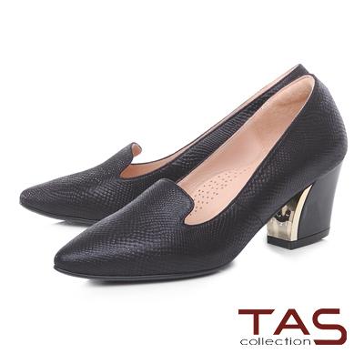TAS 復古蛇紋金屬樂福高跟鞋-人氣黑