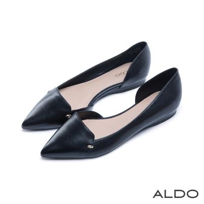 ALDO-原色真皮鞋面雙金屬橢圓珠淺口跟鞋-尊爵黑色