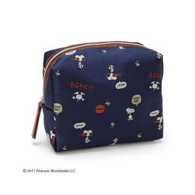 Sanrio SNOOPY刺繡裝飾緹花布面化妝包(趣味話語藍)