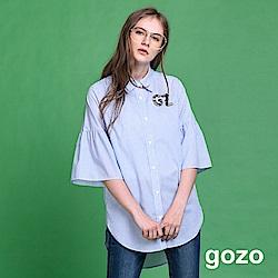 gozo 立體縫珠七分袖長版襯衫(二色)