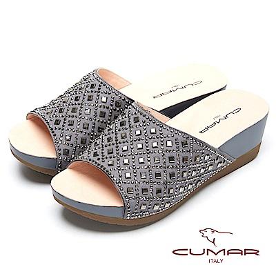 CUMAR奢華水鑽-大面積水鑽排列厚底拖鞋-灰色