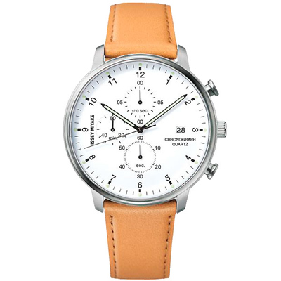ISSEY MIYAKE三宅一生 C系列簡約三眼計時真皮手錶-白X棕/42mm