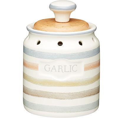 KitchenCraft 大蒜木蓋透氣陶罐(復古條紋)