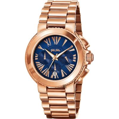 Folli Follie Watchalicious 羅馬計時錶-藍x玫塊金/40mm