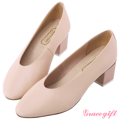Grace gift-簡約撞色特殊方型跟鞋 粉