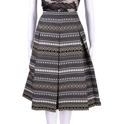 Max Mara-WEEKEND 黑灰色幾何織紋中長裙