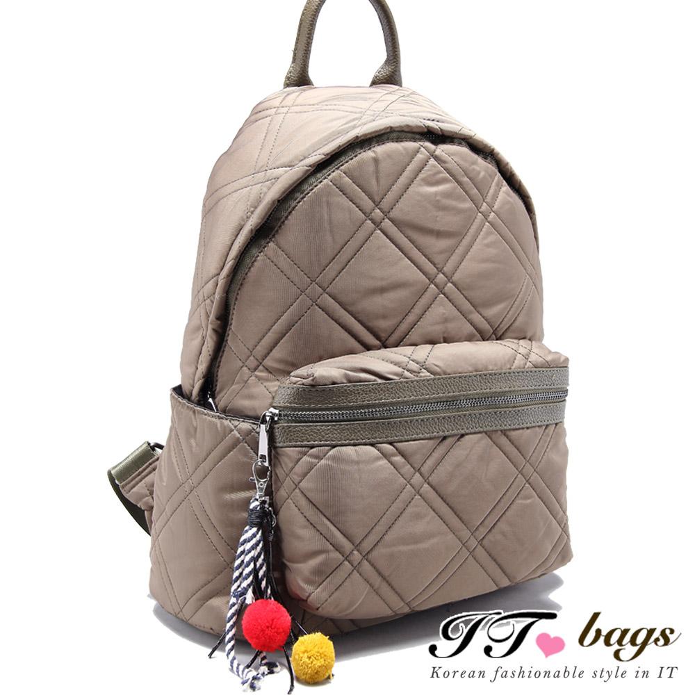 It Bags 輕質感布蘭特衍縫隙菱格後背包 共三色