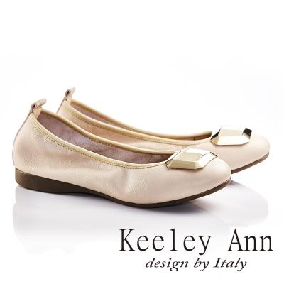 Keeley Ann立體寶石OL全真皮軟墊平底娃娃鞋(米色)