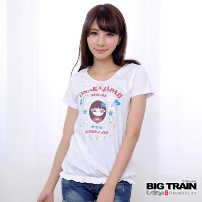 BIG TRAIN 小葵櫻花抽皺T-女-白