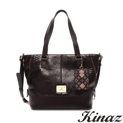 KINAZ-隨心所欲兩用斜背托特包-時尚黑-趣味拼圖系列-快