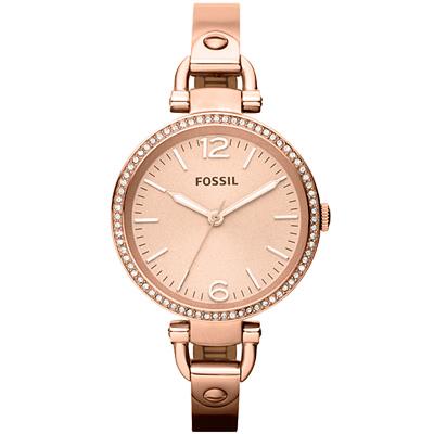 FOSSIL質感晶鑽玫瑰金采時尚腕錶-玫瑰金/32mm