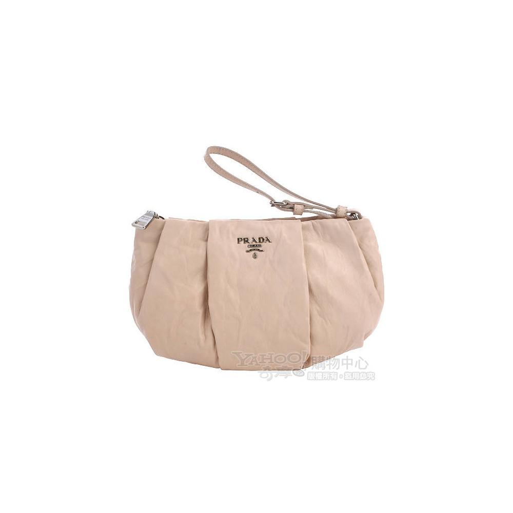 PRADA Nappa Antique 粉膚色小羊皮鞣製手挽萬用包