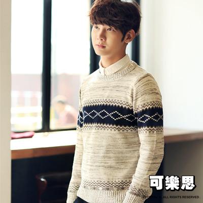 可樂思 民族風 圖騰 圓領 男生 針織 上衣 毛衣(b)