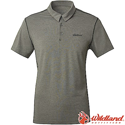 Wildland 荒野 0A61652-91淺灰色 男雙色POLO領排汗上衣