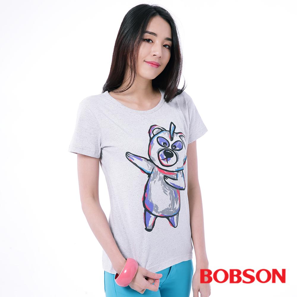 BOBSON  女款紫色小熊印圖T恤