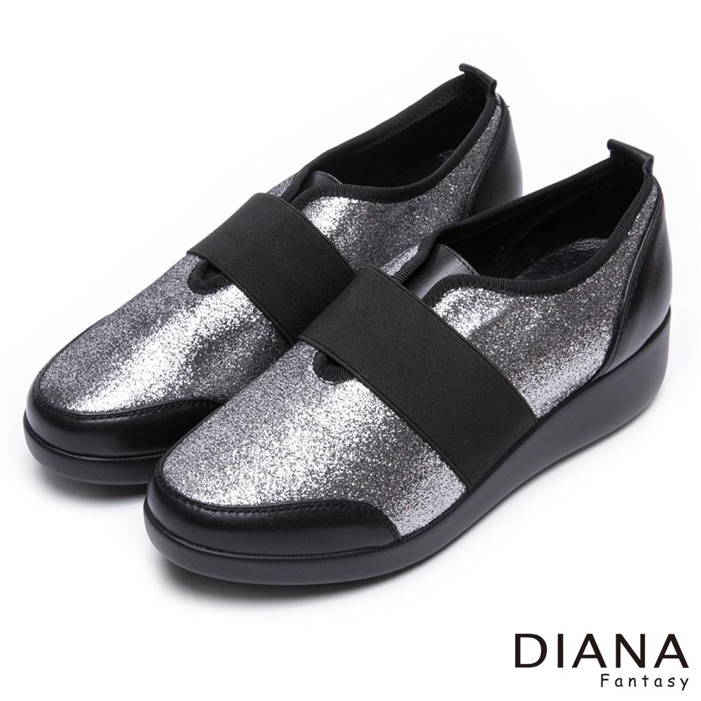 DIANA璀燦星芒極修飾寬繞帶休閒鞋-輕。愛的-銀x黑