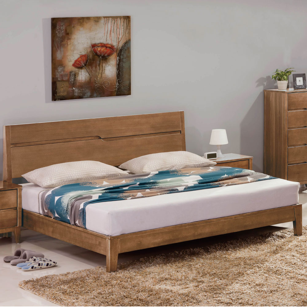 品家居 布加6尺實木雙人加大床台 不含床墊 183x198.5x101.6cm 免組