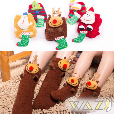 Wazi-立體聖誕童話珊瑚絨襪子聖誕襪1組二入