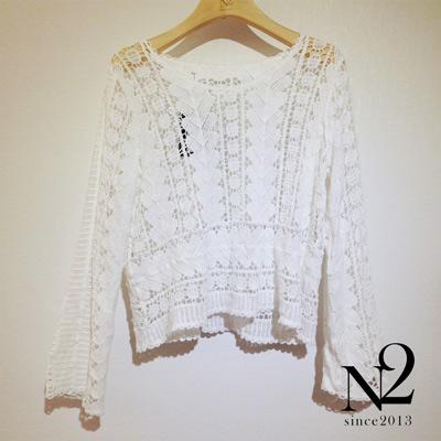 上衣-蕾絲簍空長袖上衣-白-N2